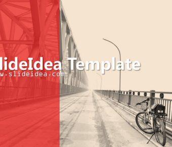 【單車旅遊PPT】高品質的6頁單車旅遊PPT模板下載,靜態腳踏車背景簡報的素材檔