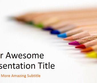 【彩色繪圖PPT】很棒的23頁彩色繪圖PPT模板下載,靜態鉛筆背景簡報的範例格式