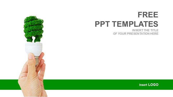 手拿綠色節能燈PPT背景圖片