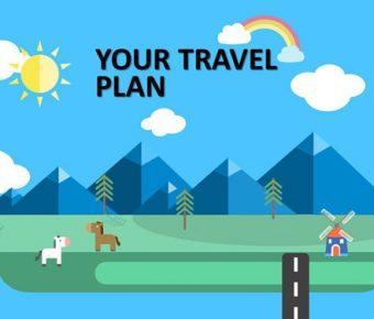 【旅遊行程PPT】高質量的4頁旅遊行程PPT模板下載,靜態行程規劃簡報的檔案格式