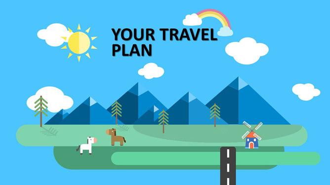 卡通矢量旅遊行程安排PPT模板