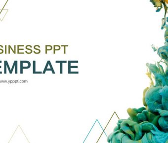 【創意顏料PPT】精緻的21頁創意顏料PPT模板下載,靜態水彩藝術簡報的素材檔