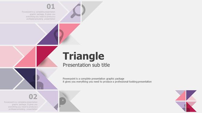 創意三角形主題設計PPT模板