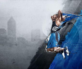 【PPT灌籃背景】高質量的1頁PPT灌籃背景模板下載,靜態藍球封面素材的模板格式檔