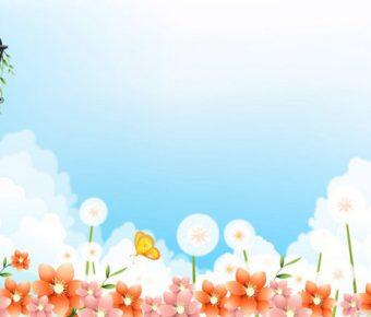 【PPT藍天花朵】優質的3頁PPT藍天花朵模板下載,靜態白雲風景封面的版型作業檔