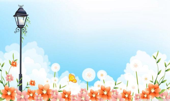 PPT藍天花朵 模板下載 | 天天瘋PPT