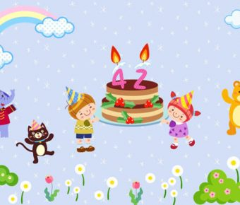 【生日慶祝PPT】精緻的3頁生日慶祝PPT模板下載,動態卡通生日簡報的簡報檔