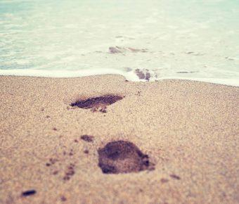 【PPT腳印圖案】精美的6張PPT腳印圖案模板下載,靜態海灘足跡素材的簡報檔