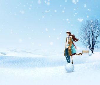 【PPT情侶背景】高品質的2張PPT情侶背景模板下載,靜態雪中浪漫素材的佈景格式檔