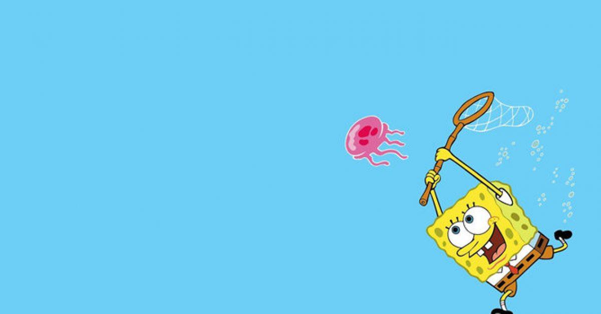 【PPT卡通背景】無暇的5張PPT卡通背景模板下載,靜態海綿寶寶圖案的模板格式