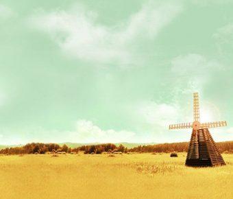 【PPT農田背景】卓越的4張PPT農田背景模板下載,靜態風車圖案素材的頁面檔
