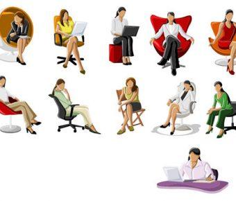 【PPT人物剪影】精美的1頁PPT人物剪影素材下載,靜態辦公室圖案的素材格式