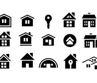 【PPT建築素材】完整的2頁PPT建築素材下載,靜態建築icon圖示的版型格式檔