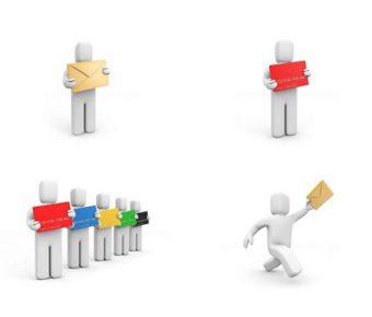 【PPT郵件素材】卓越的28張PPT郵件素材下載,靜態人物寄信圖案的素材作業檔