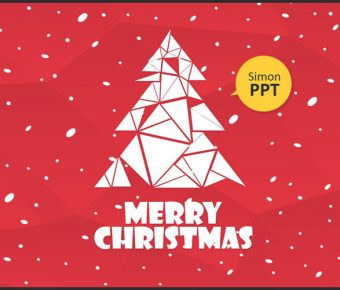 【聖誕樹PPT】極致的20頁聖誕樹PPT模板下載,靜態紅色聖誕節簡報的模板格式檔