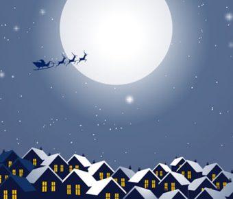 【聖誕節卡片PPT】齊全的2頁聖誕節卡片PPT模板下載,動態卡通主題範本的佈景格式檔