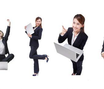 【PPT女生素材】細緻的4張PPT女生素材下載,靜態商務女性圖片的版型格式檔
